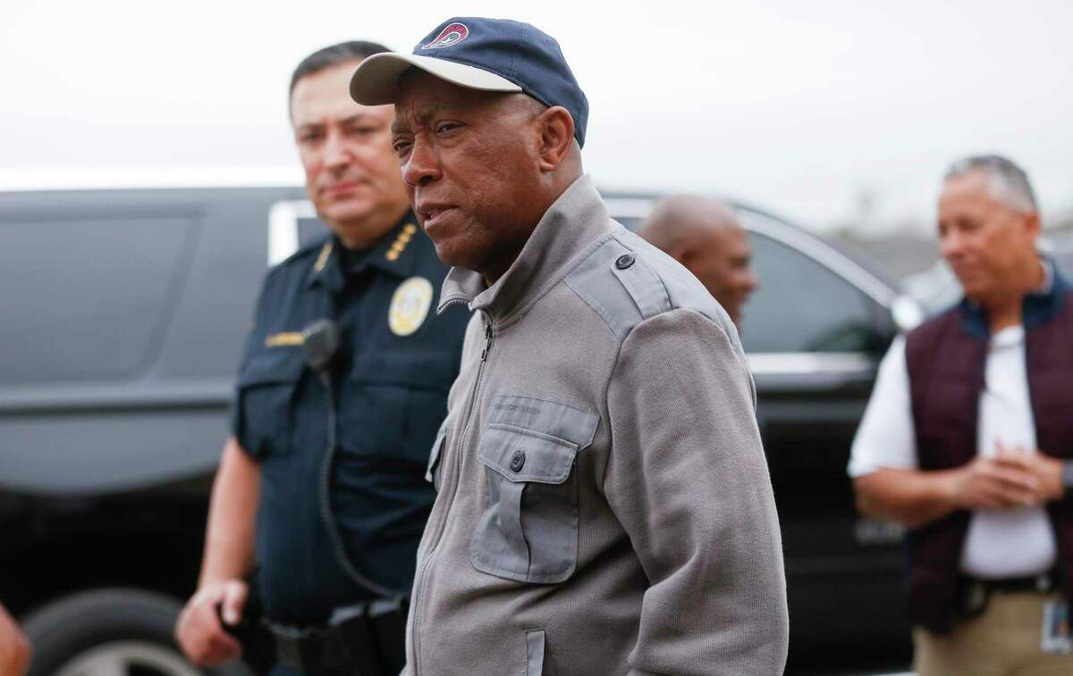 Mayor Sylvester Turner, pictured at the city's free COVID-19 drive-thru testing site at Butler Stadium on Saturday, March 21, 2020, has frustrated progressive policy advocates and even Democratic allies by largely declining to act on proposals from his own task forces.