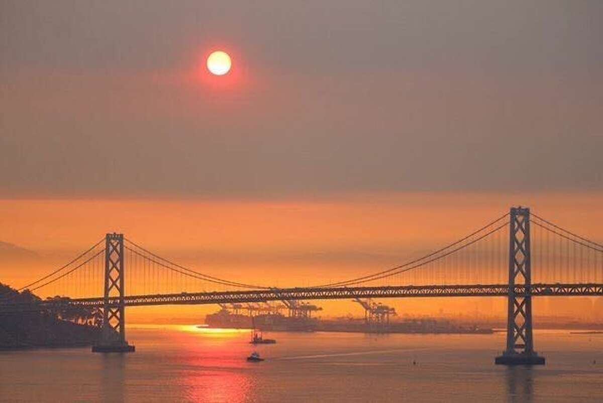 Bay Area skies were covered in smoke from multiple wildfires at sunrise on Aug. 19, 2020.