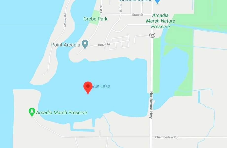 Police found anArcadia manunresponsive inArcadia Lake approximately 75 yards from shore. CPR attempts were unsuccessful. (Courtesy map/Google)
