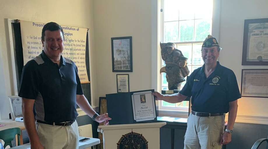 American Legion Post 86 Commander Bill Glass, right, presents Chris Eidt with the Post 86 Americanism Award on Aug. 11. Photo: American Legion Post 86 / Contributed Photo / Wilton Bulletin Contributed
