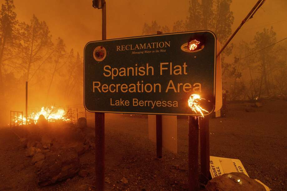 The LNU Lightning Complex fires tear through the Spanish Flat community in unincorporated Napa County, Calif., Tuesday, Aug. 18, 2020. Photo: Noah Berger/Associated Press / Noah Berger