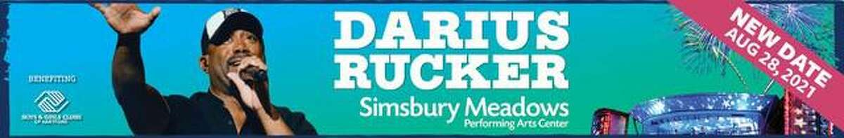 Darius Rucker's concert at Simsbury Meadows in August has been rescheduled from this Aug. 28 to Aug. 29, 2021.