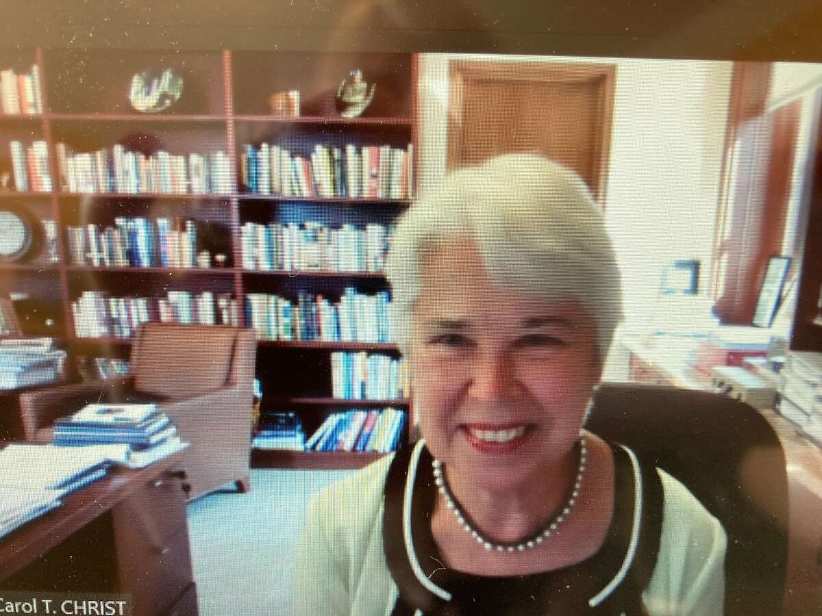 UC Berkeley Chancellor Carol Christ on Zoom ahead of opening day on Aug. 26, 2020 of the University of California's flagship campus.