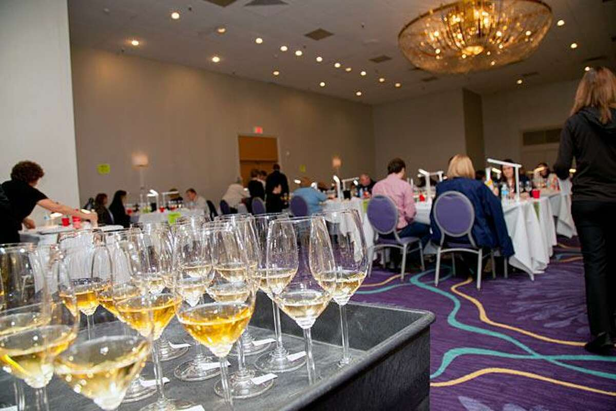 Wine judging at the 20th Annual Finger Lakes Wine Competition.