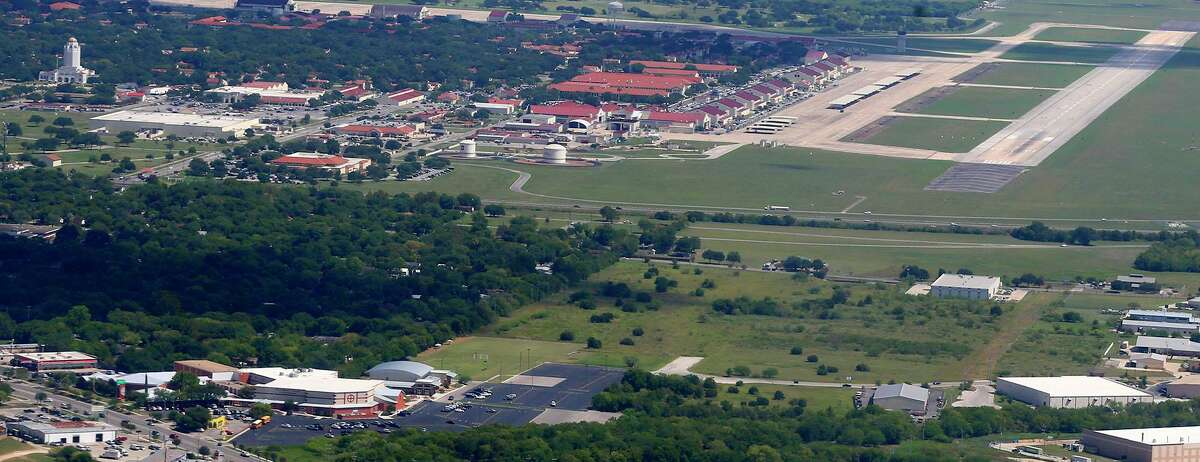 This aerial picture made in 2017 from the seat of a U.S. Air Force training plane shows the First Baptist Church Universal City (lower left) and its proximity to the flight path of planes that take off and land at Joint Base San Antonio-Randolph (top).