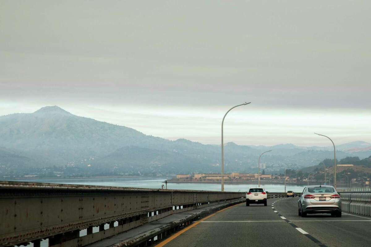 Dark smoke blankets the skies over the North Bay as multiple fires rage across Sonoma and Napa counties, seen from the Richmond Bridge, August 19, 2020.