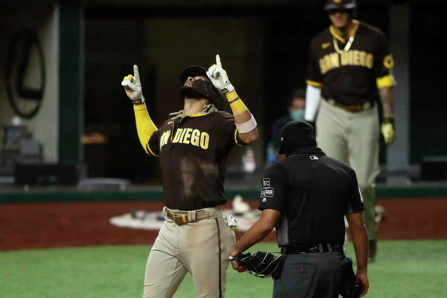 Fernando Tatis Jr. hit a grand slame in the Padres' win over the Rangers Monday night. Photo: Tony Gutierrez /Associated Press / Copyright 2020 The Associated Press. All rights reserved.