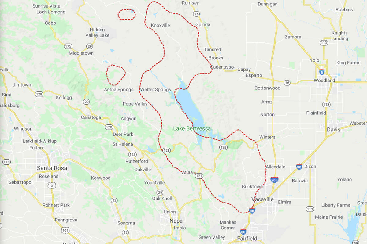 Google Maps has the approximate boundary of the LNU Lightning Complex Fire, derived from NOAA's GOES satellite as of noon on Wednesday, Aug. 19, 2020.