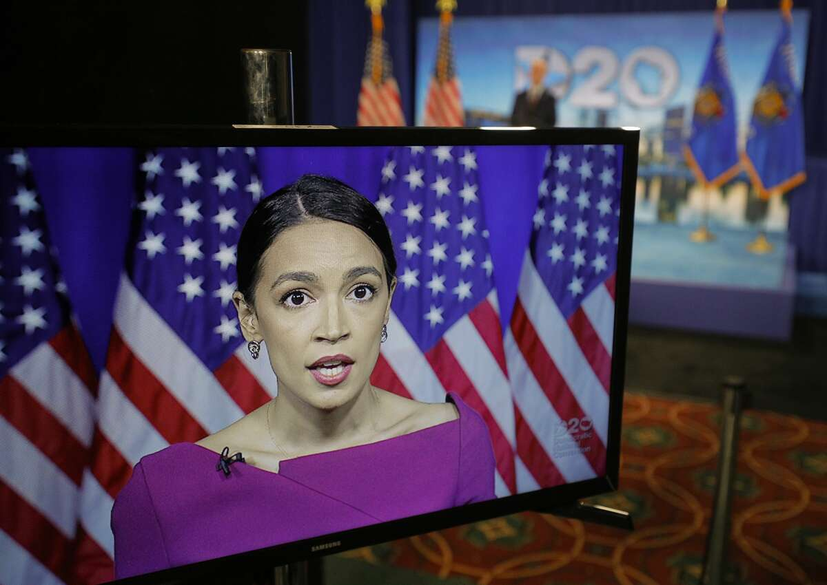 Rep. Alexandria Ocasio-Cortez, D-N.Y., seconds the nomination of Democratic presidential candidate, Sen. Bernie Sanders, I-Vt., via video feed during the second night of the virtual 2020 Democratic National Convention in Milwaukee, Wisc., Tuesday, Aug. 18, 2020. (Brian Snyder/Pool via AP)