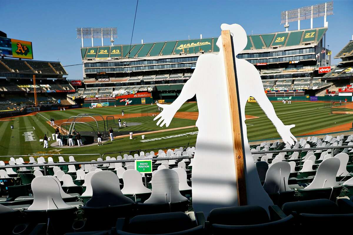 A cut out in the stands before Oakland Athletics play Los Angeles Angels in season opener at Oakland Coliseum in Oakland, Calif., on Friday, July 24, 2020.