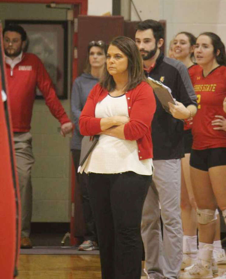 Ferris coach Tia Brandel-Wilhelm has coached volleyball at FSU since 1996. Photo: Pioneer File Photo
