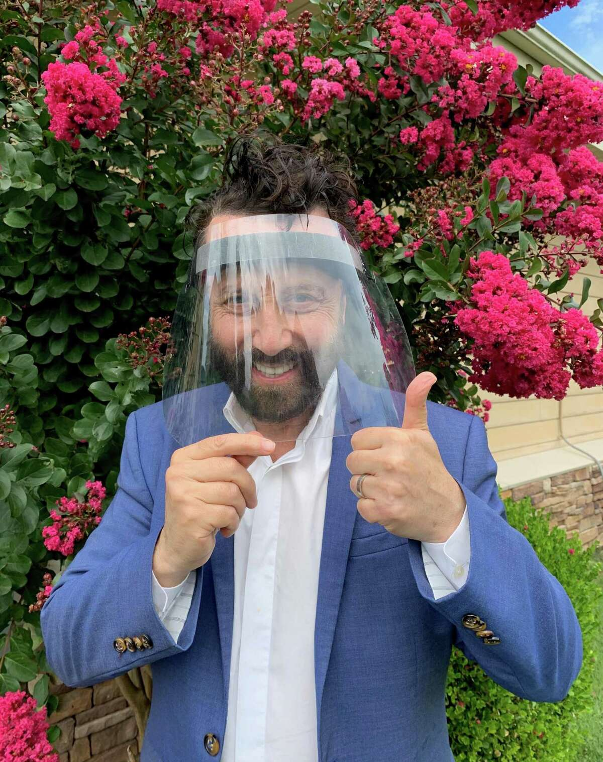 Yakov Smirnoff with his protection of choice these days.