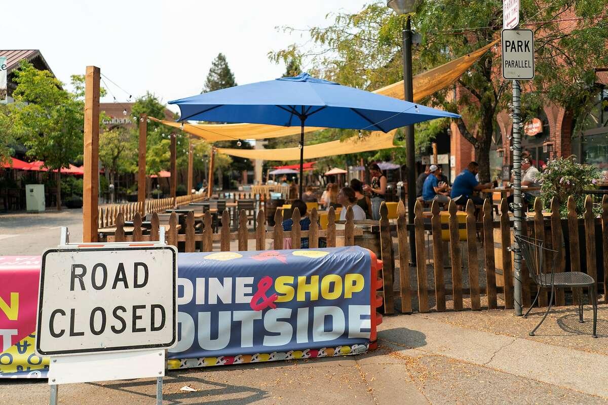 'Road Closed' sign downtown Santa Rosa, California, August 19, 2020.