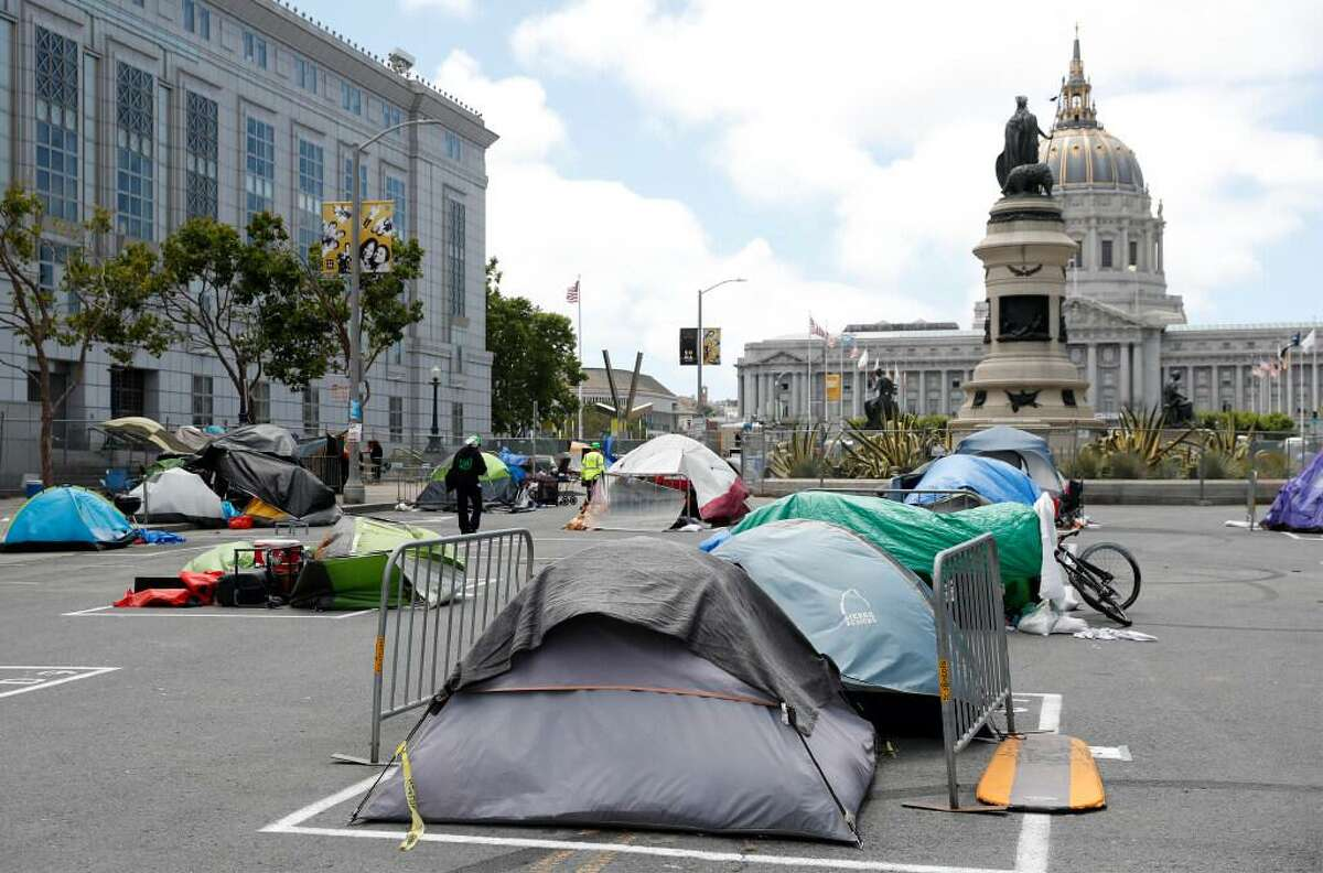 City-sanctioned safe sleeping site on Fulton Street between Hyde and Larkin Streets in San Francisco, Calif., on Friday, June 12, 2020.