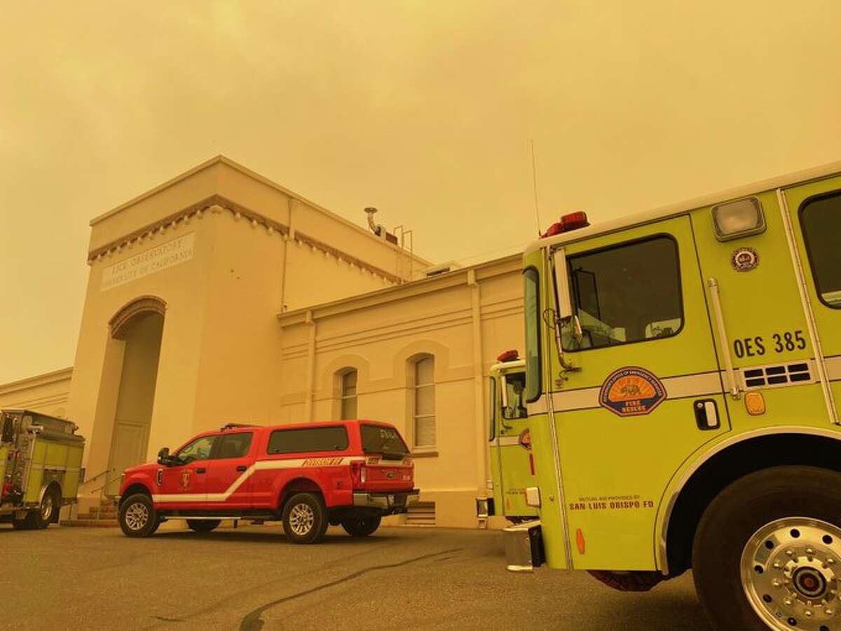 Fire crews arrive at the Lick Observatory on August 19, 2020.