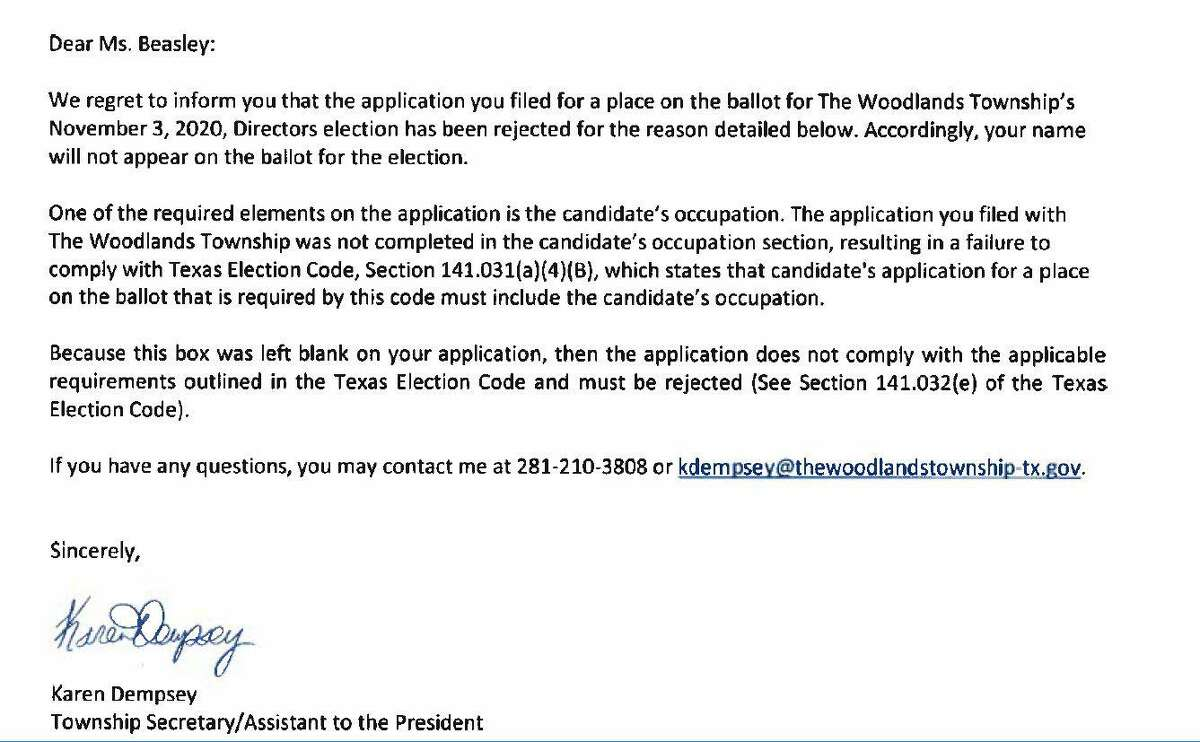 A candidate for The Woodlands Township Board of Directors has been removed for the second time in three years. Amanda Beth Beasley, who was seeking the Position 2 seat on the board, did not fill in her occupation, a requirement under state law. She received this letter via email notifying her she was removed from the 2020 ballot.
