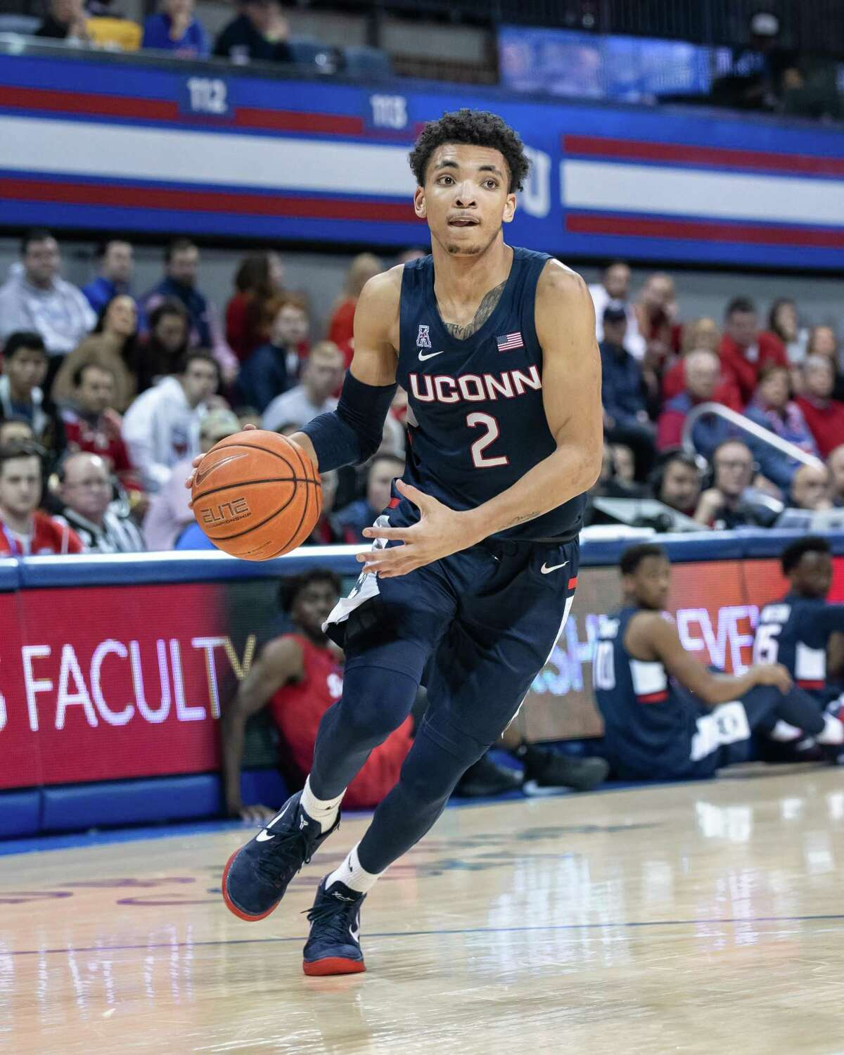 UConn's James Bouknight averaged 13 points and 4 assists last season.