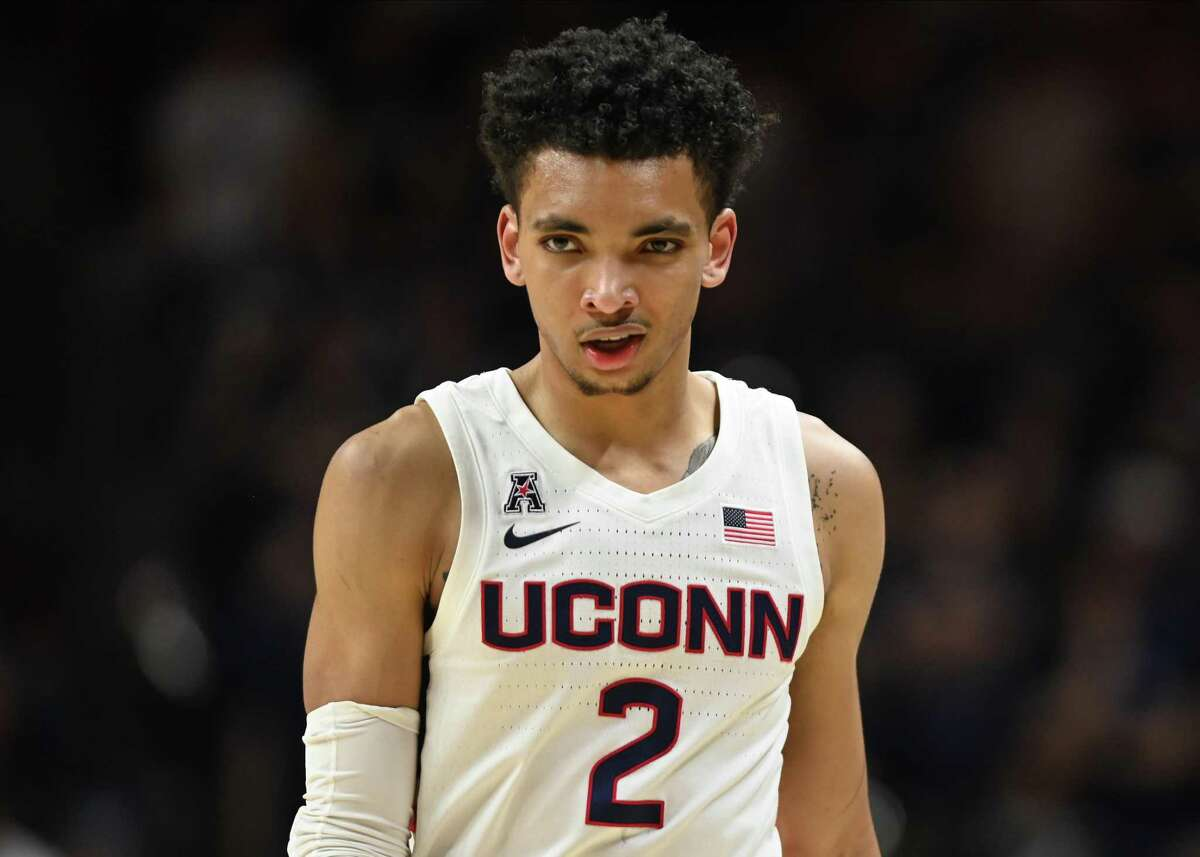 STORRS, CT - MARCH 05: UConn Huskies guard James Bouknight (2) during the game as the Houston Cougars take on the UConn Huskies on March 5, 2020, at the Harry A. Gampel Pavilion in Storrs, Connecticut. (Photo by Williams Paul/Icon Sportswire via Getty Images)