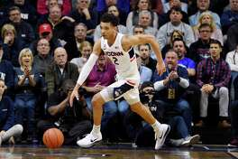 Connecticut's James Bouknight in the first half of an NCAA college basketball game, Thursday, March 5, 2020, in Storrs, Conn. (AP Photo/Jessica Hill)