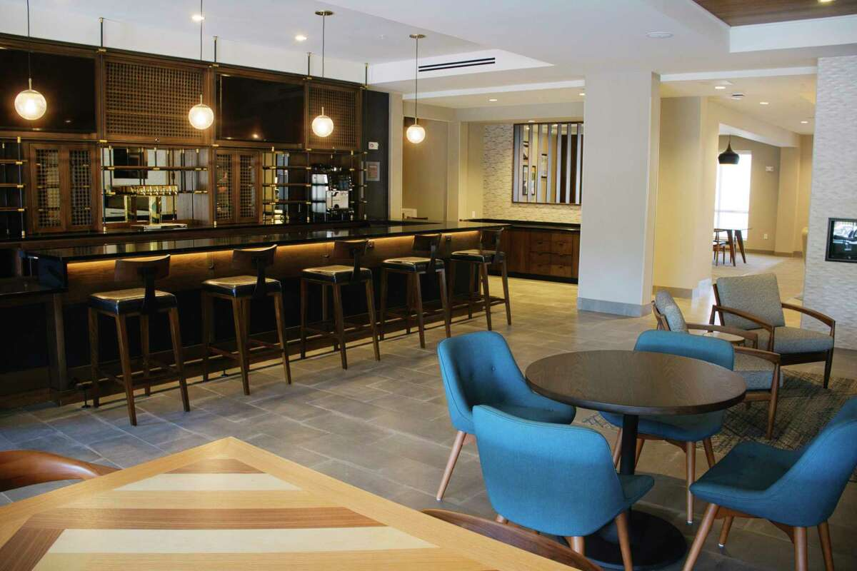 A view of bar area at the newly opened Four Points by Sheraton hotel on Wednesday, Aug. 19, 2020, in Albany, N.Y. (Paul Buckowski/Times Union)
