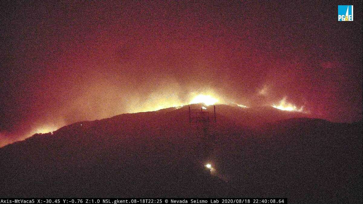 Image 3: The fire cam MtVaca5 captures the eruption of the LNU Lightning Complex fire near Vacaville on Tuesday, Aug. 18, 2020.