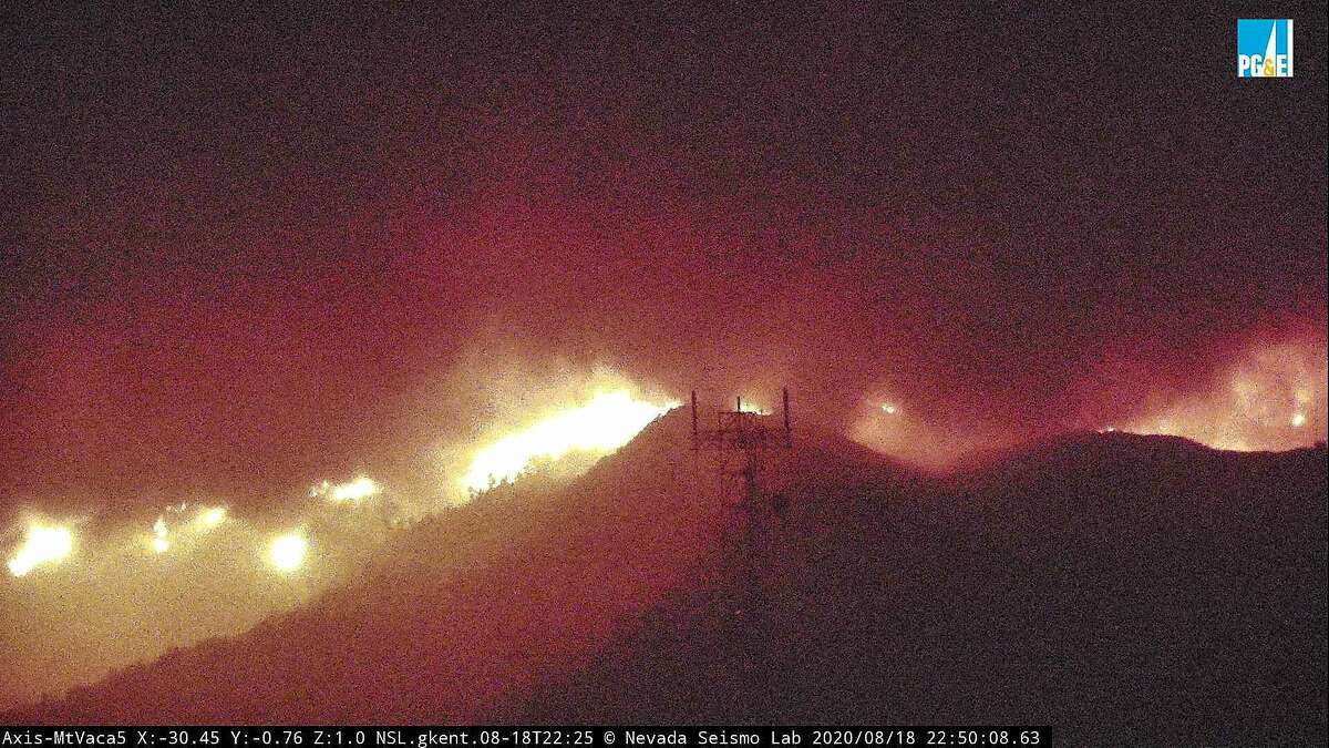 Image 4: The fire cam MtVaca5 captures the eruption of the LNU Lightning Complex fire near Vacaville on Tuesday, Aug. 18, 2020.