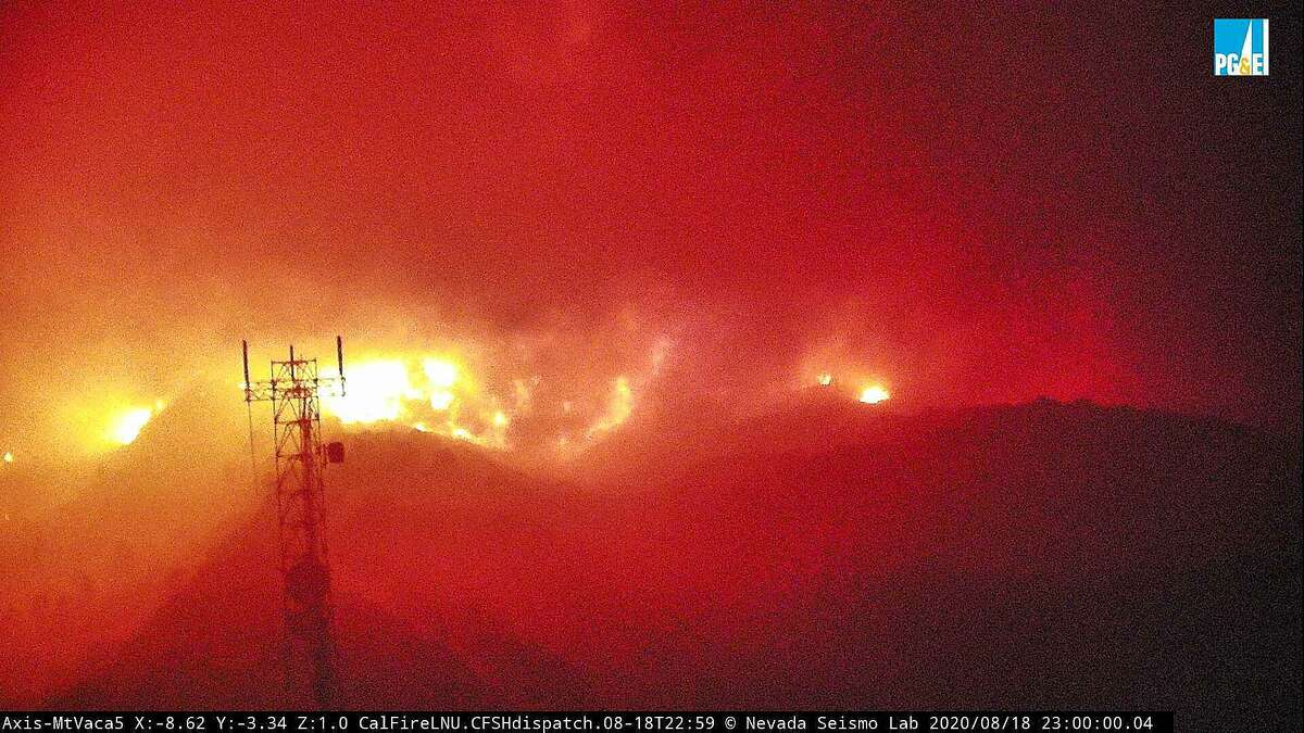 Image 5: The fire cam MtVaca5 captures the eruption of the LNU Lightning Complex fire near Vacaville on Tuesday, Aug. 18, 2020.