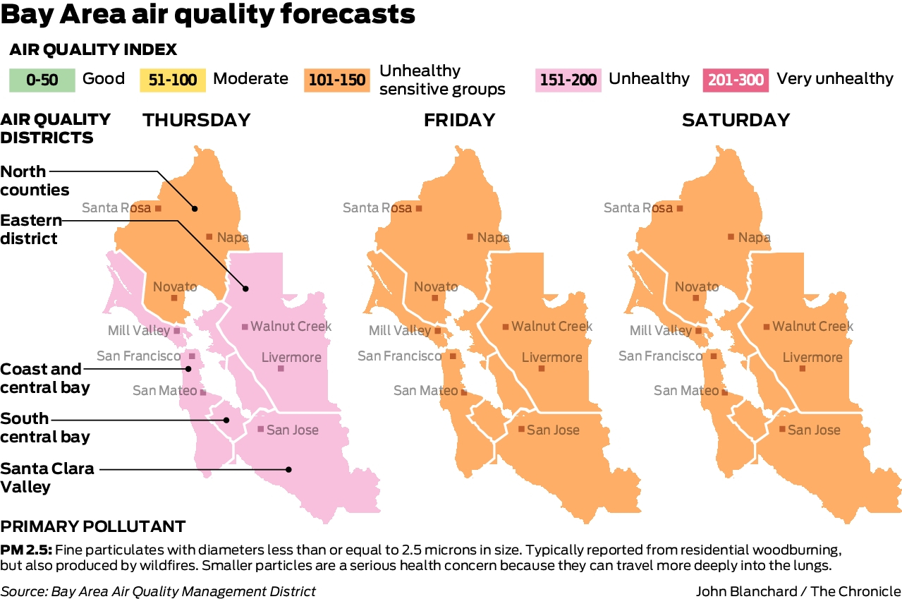 Wildfire Smoke Chokes Bay Area Creating Worst Air Quality In The World Sfchronicle Com Air is almost always on the move, and pollution can easily drift from one reporting zone to another. wildfire smoke chokes bay area