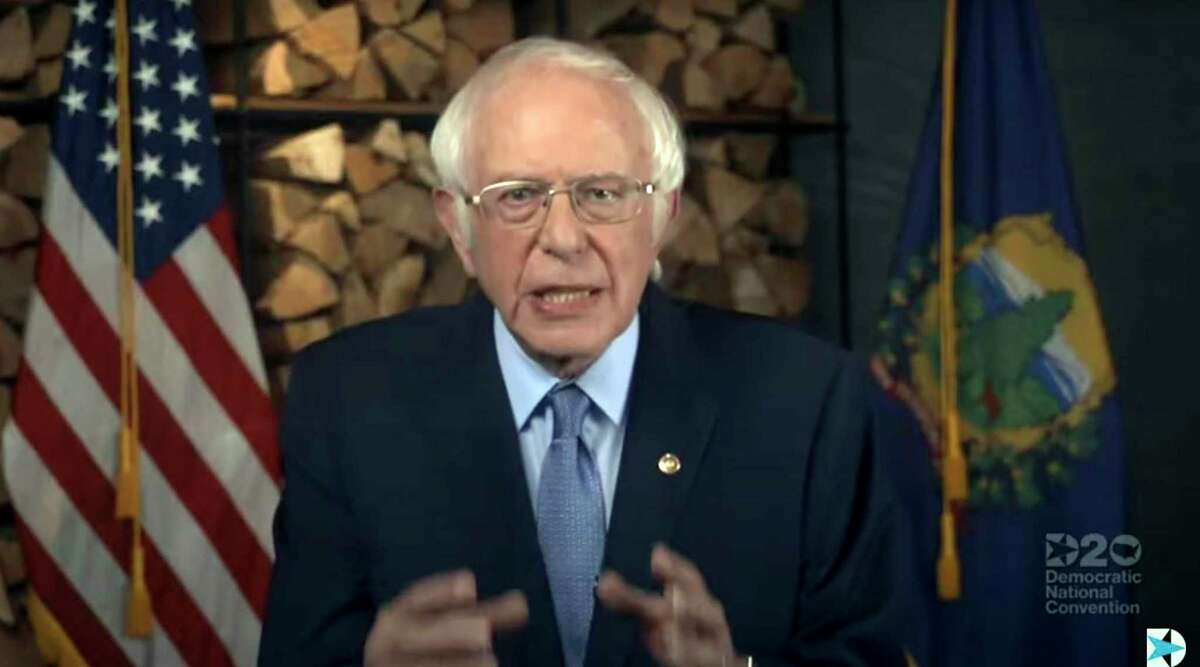 This image grab made on August 17, 2020 from the online broadcast of the Democratic National Convention, being held virtually amid the novel coronavirus pandemic, shows US Senator Bernie Sanders(I-VT) speaking during the opening night of the convention. - America's political convention season begins tonight with former first lady Michelle Obama addressing the Democrats' now-virtual gathering set to anoint Joe Biden, as President Donald Trump defies coronavirus concerns to rally supporters in battleground Wisconsin. (Photo by Handout / DEMOCRATIC NATIONAL CONVENTION / AFP) / RESTRICTED TO EDITORIAL USE - MANDATORY CREDIT