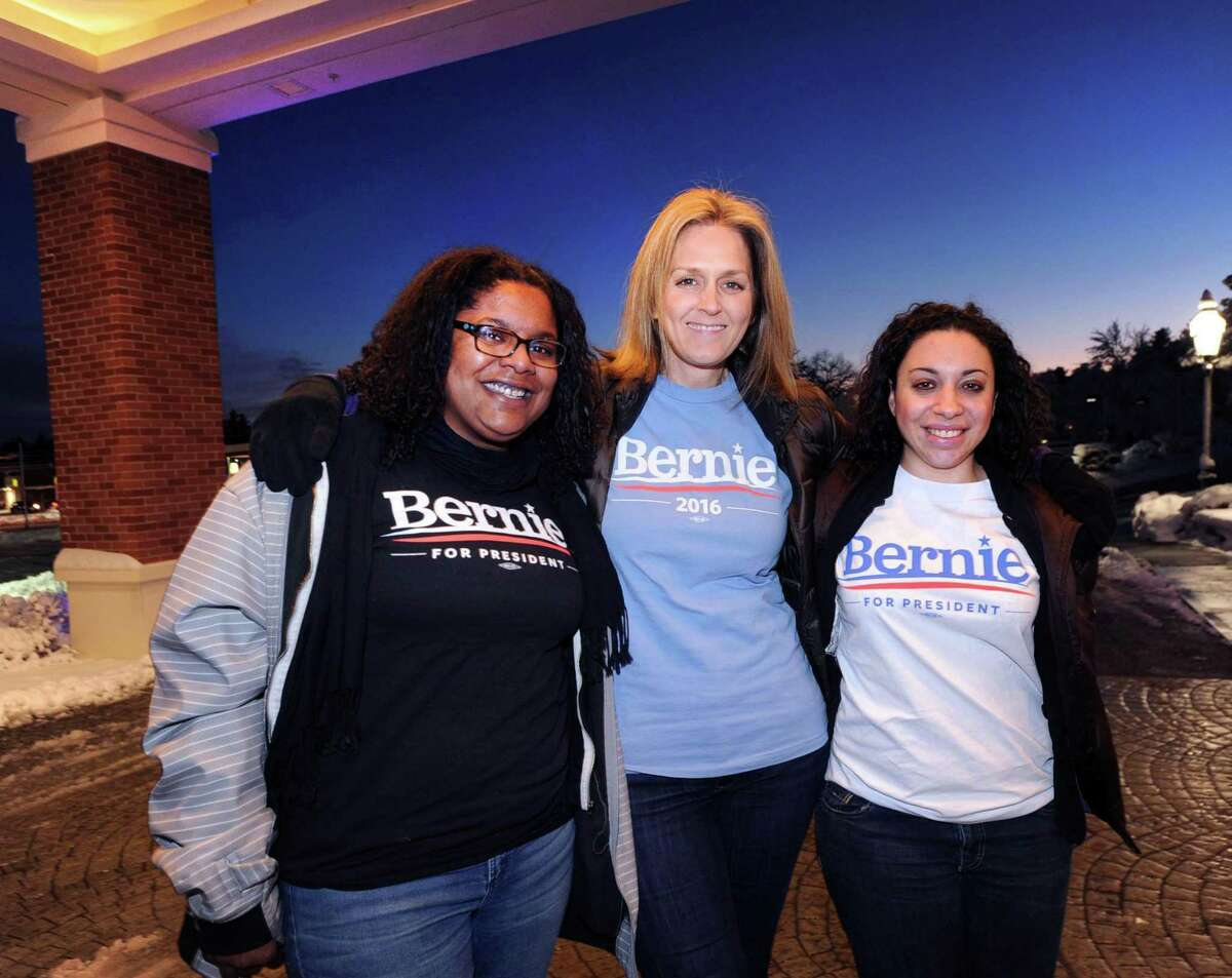 Connecticut Bernie Sanders for President supporters from left, Callie Jayne of Ridgefield, Angie Parkinson of East Hartford and Samantha Savvidou of Beacon Falls, at the Holiday Inn Express in Merrimack, New Hampshire, Friday, Feb. 5, 2016. The women, all friends were in New Hampshire to support their candidate for President who is running in the upcoming New Hampshire primary.