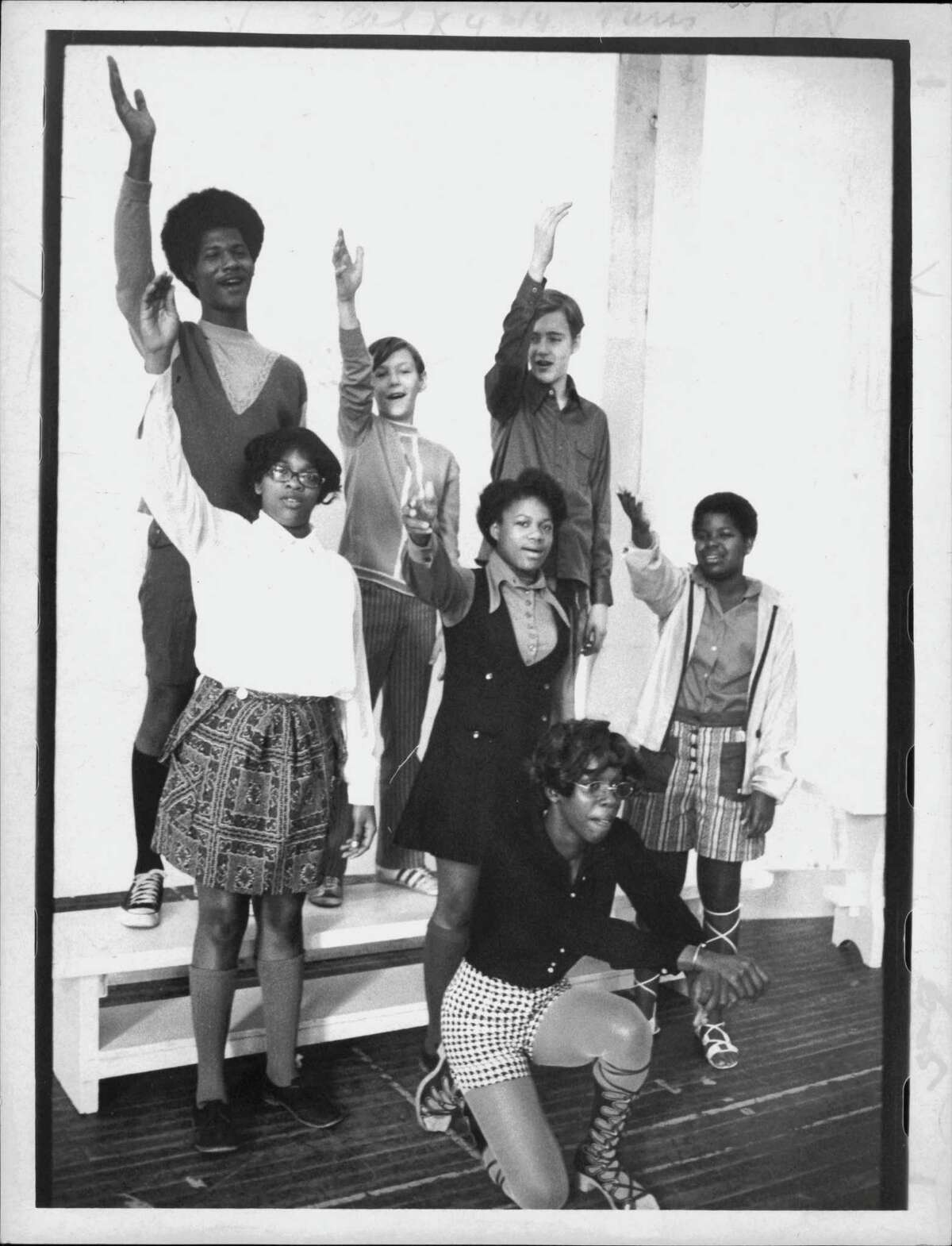 Philip Livingston Junior High School, Albany, New York - Students performing: Front: Lilia Byrd; Second row: Kathy Johnson, Regina Frazier and Linda Watkins; Third row: William Johnson, Doug Moore, and Robert Graham. August 20, 1971 (Roberta Smith/Times Union Archive)