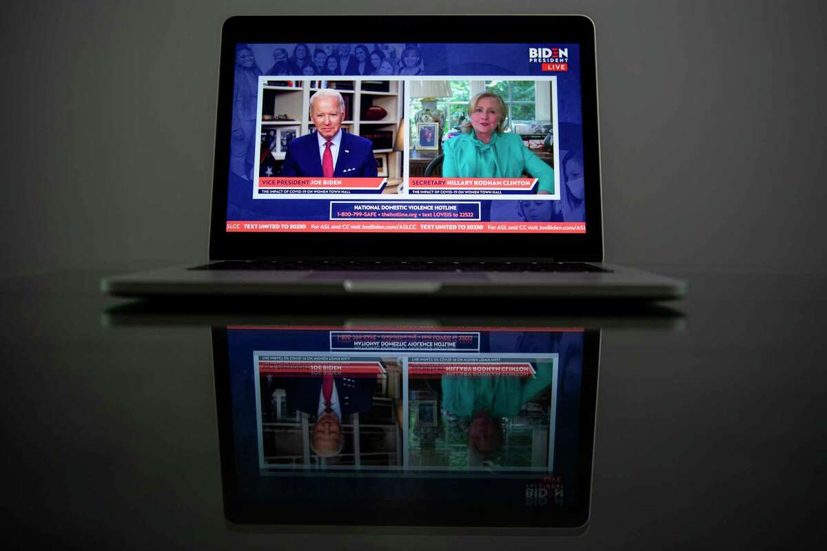 Joe Biden and Hillary Clinton appear at a virtual event in April where she delivered her endorsement.