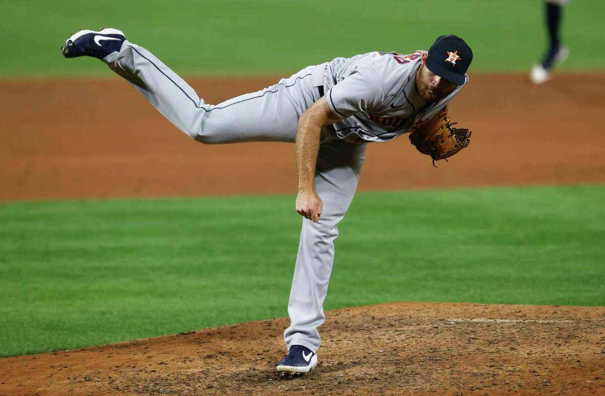 Houston Astros relief pitcher Cy Sneed works against the Colorado Rockies during the ninth inning of a baseball game Wednesday, Aug. 19, 2020, in Denver. Houston won 13-6. (AP Photo/David Zalubowski)
