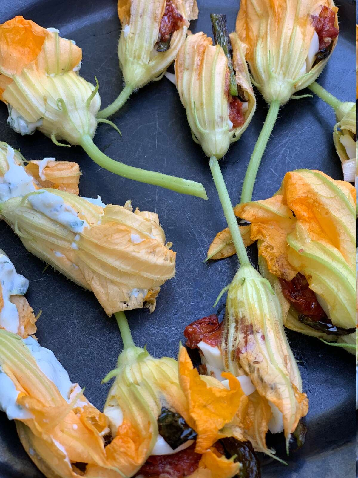 Squash blossoms, from the fresh plant to stuffed.