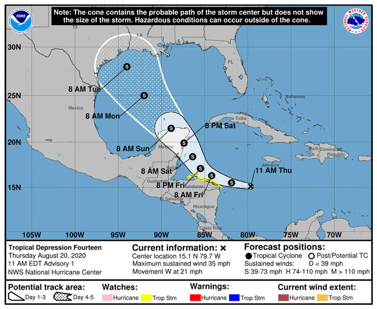 The forecast cone for tropical depression 14, which has Houston in its sights. The storm's path is still uncertain as of Thursday, Aug. 20, 2020.
