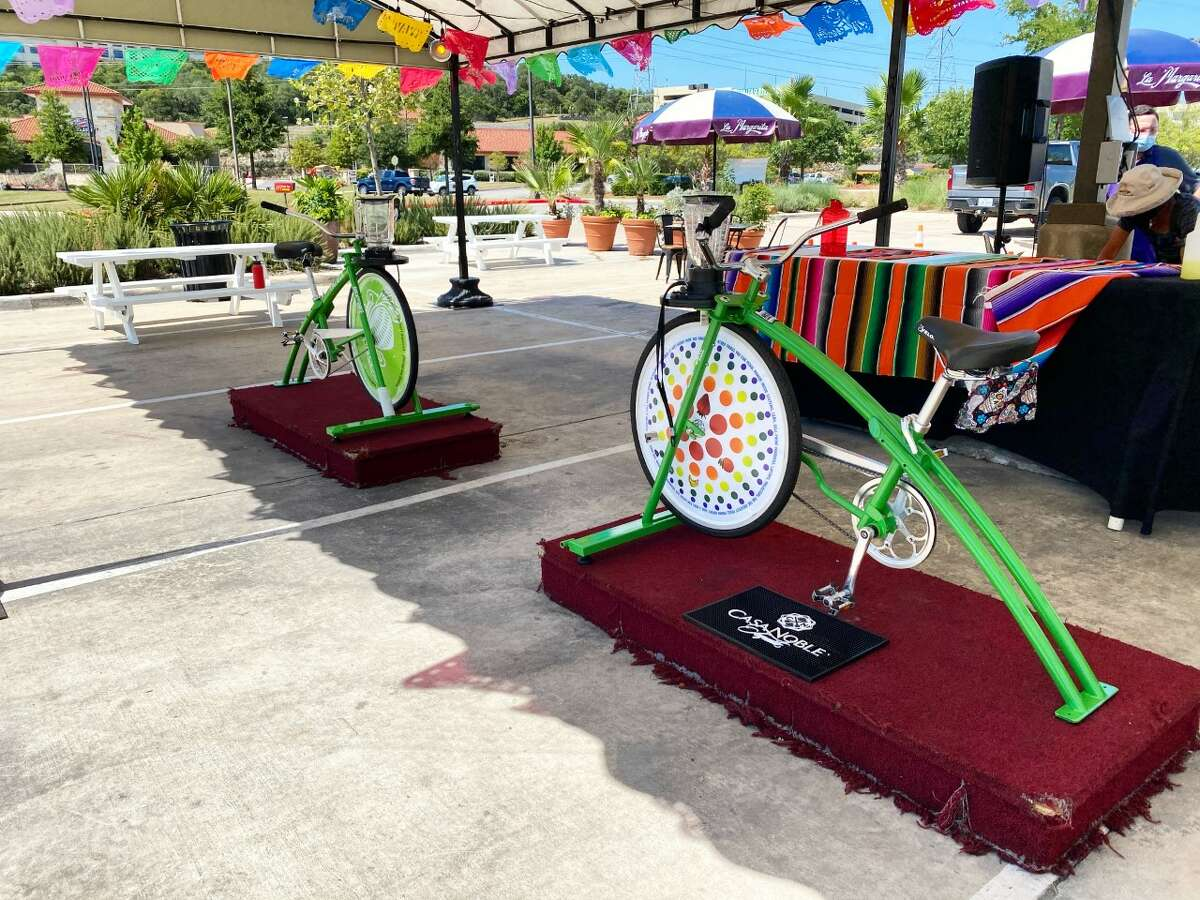 There are COVID-19 safety precautions in place. Only the bartender will touch the pitcher area of the bike and the equipment will be sanitized after each use. The bikes will be on the plazas of Market Square in front of La Margarita from 11 a.m. to 6 p.m. Saturday from 11 a.m. to 4 p.m. Sunday.