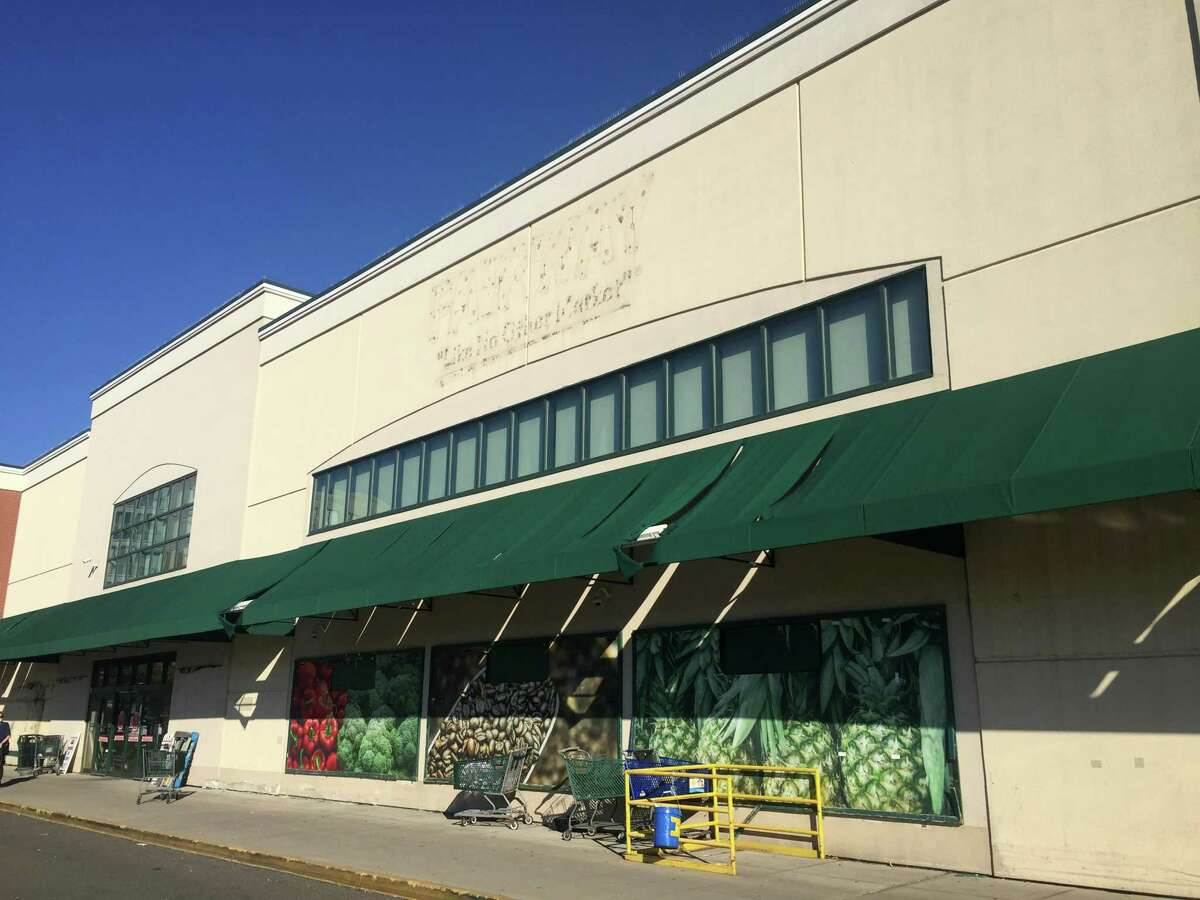 The exterior signs have been removed from the now-shuttered Fairway Market at 699 Canal St., in the South End of Stamford, Conn.