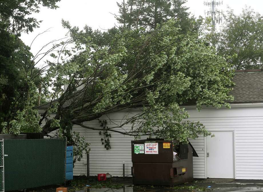 A fallen tree rests on the roof of 1417-1435 Post Road as Tropical Storm Isaias brings high winds to Fairfield, Conn. on Tuesday, August 4, 2020. Photo: Brian A. Pounds / Hearst Connecticut Media / Connecticut Post