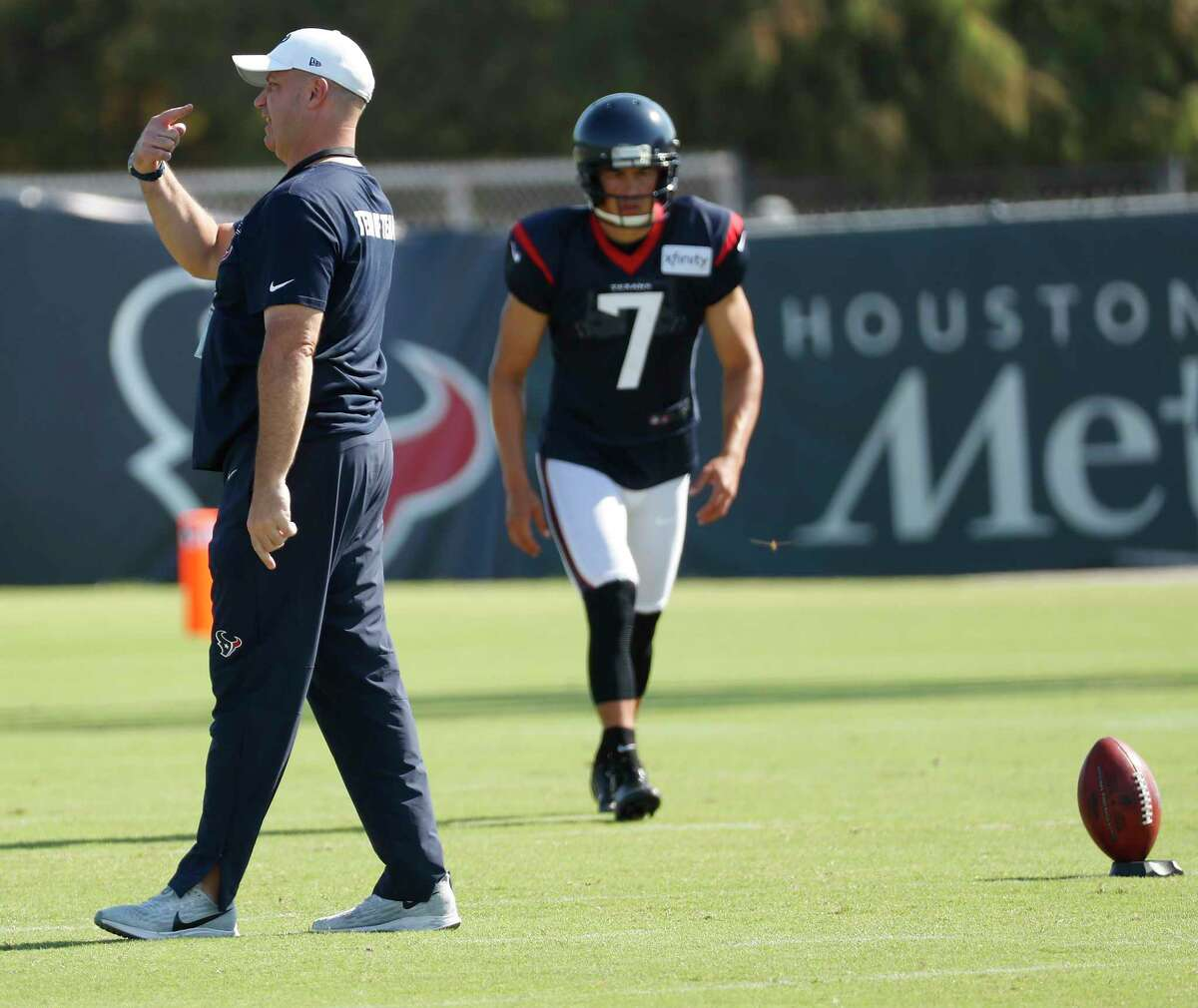 Houston Texans head coach Bill O'Brien watches his team work out during an NFL training camp football practice Thursday, Aug. 20, 2020, in Houston.