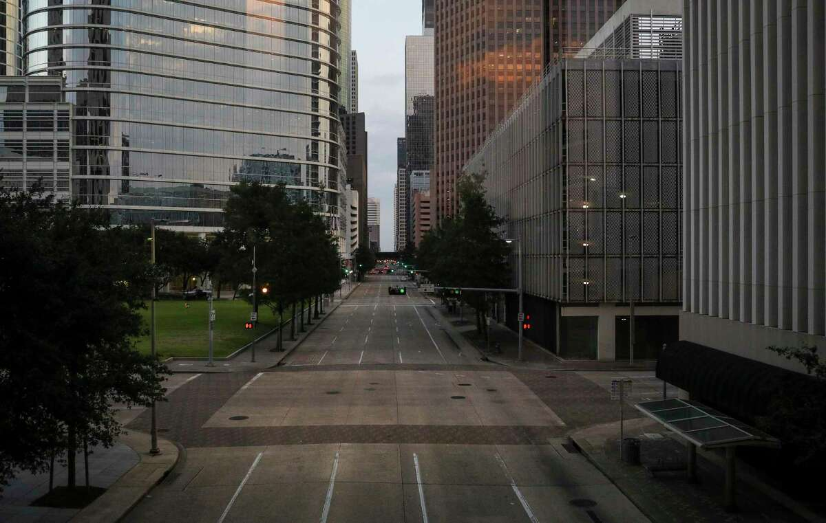 Louisiana Street looking north, photographed around 8 p.m., Tuesday, Aug. 4, 2020, in Houston.
