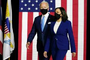 California Sen. Kamala Harris with former Vice President Joe Biden earlier this month. Already there is chatter about a Latino as the next senator from California. Not so fast. Biden-Harris might lose, and a Latino senator might not make a difference.