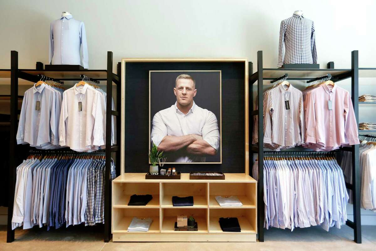 Houston Texans J.J. Watt has a large presence at Mizzen+Main store at 707 Yale St. in the Heights on Wednesday, August 19, 2020.