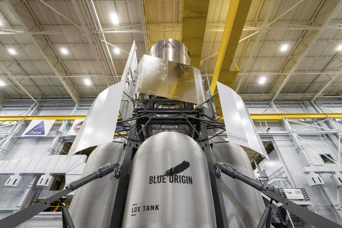 A Human Landing System mockup, developed by the Blue Origin-led National Team, is pictured at NASA Johnson Space Center's Building 9. This is one of three lunar landers that NASA is considering for lowering its astronauts to the moon in 2024.