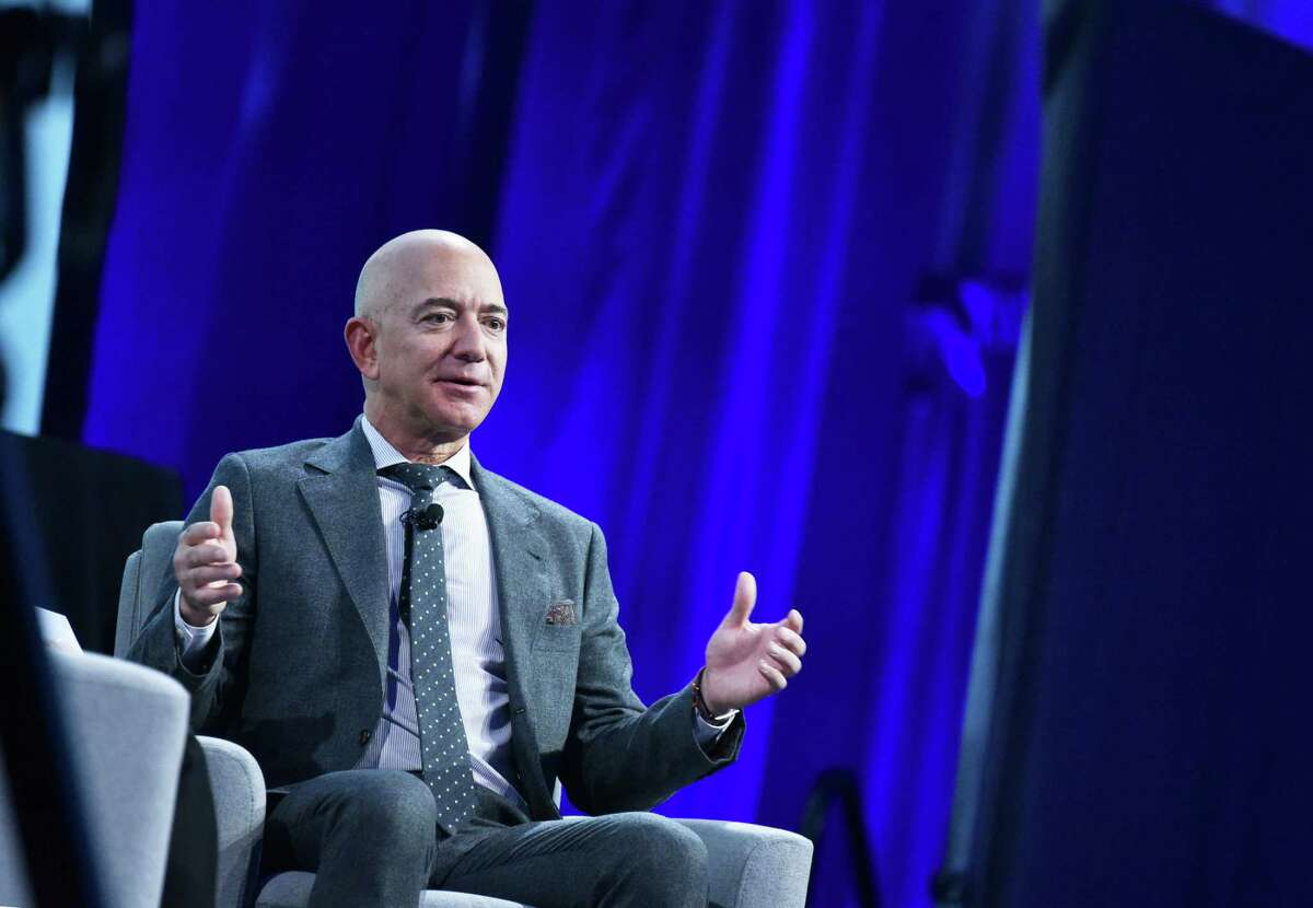 Blue Origin founder Jeff Bezos speaks after receiving the 2019 International Astronautical Federation Excellence in Industry Award on Oct. 22, 2019 during the the 70th International Astronautical Congress at the Walter E. Washington Convention Center in Washington.