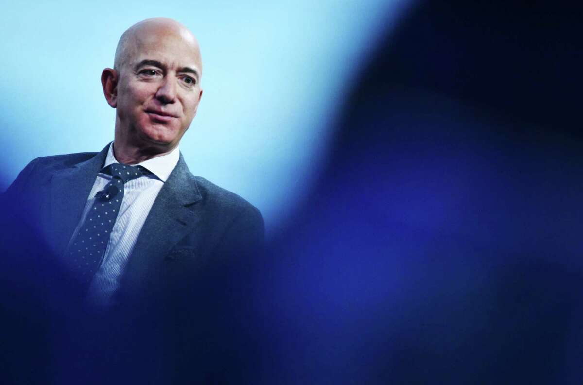 Blue Origin founder Jeff Bezos speaks after receiving the 2019 International Astronautical Federation Excellence in Industry Award during the the 70th International Astronautical Congress at the Walter E. Washington Convention Center in Washington, D.C. on Oct. 22, 2019.