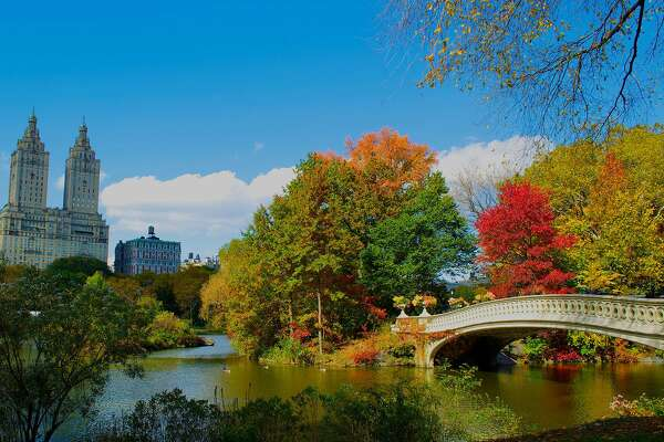 """Calming the Concrete Jungle: Even New York City exudes a peaceful tranquility once fall hits. Add """"Seeing Central Park in autumn"""" to your bucket list ASAP."""