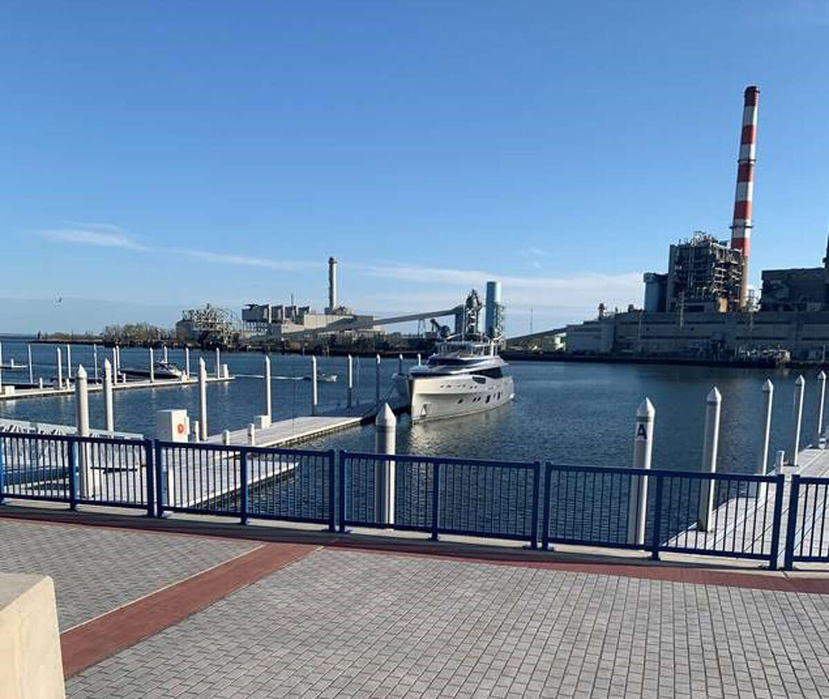 The Lady May was docked at Steelpointe Marina in Bridgeport, Conn. on May 5, 2020.