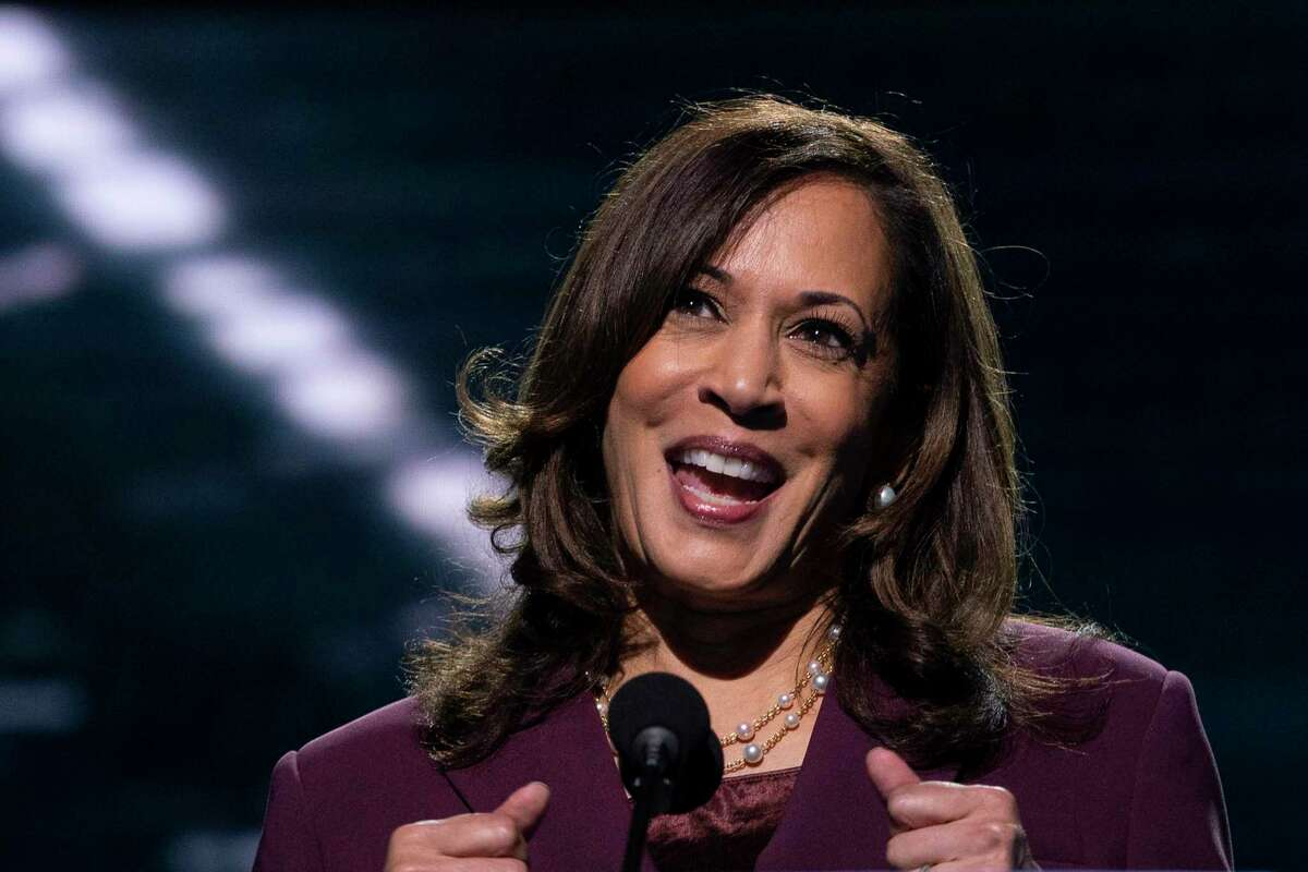 Democratic vice presidential candidate Sen. Kamala Harris, D-Calif., speaks during the third day of the Democratic National Convention, Wednesday, Aug. 19, at the Chase Center in Wilmington, Del.