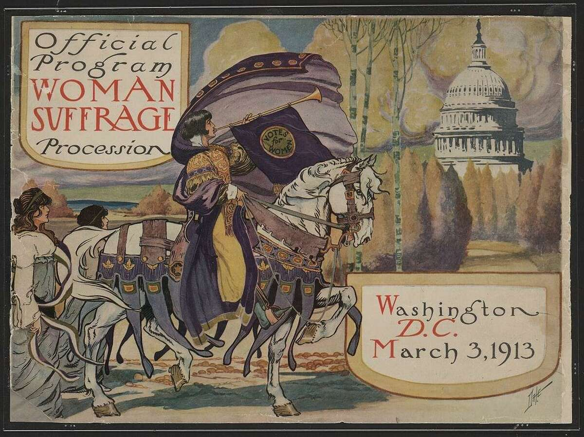 The cover of the program for the National American Woman Suffrage Association with a