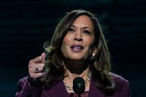 Democratic vice presidential candidate Sen. Kamala Harris, D-Calif., speaks during the third day of the Democratic National Convention, Aug. 19, at the Chase Center in Wilmington, Del.